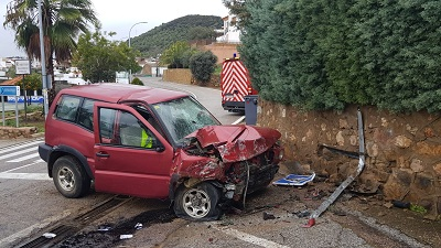 Accidente en la travesía de la N-432 en Villaharta